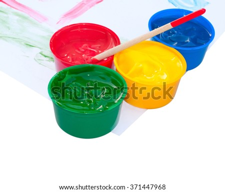 Paints and kid picture isolated on white background