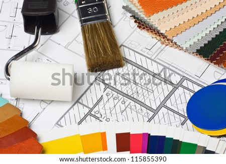 Paints, brushes and accessories for repair to architectural drawing - stock photo