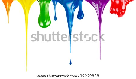 Paints dripping isolated on white - stock photo