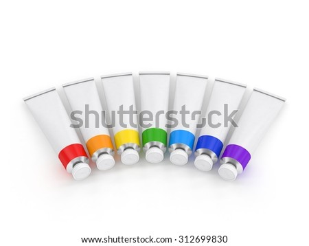 paints in tubes on a white background
