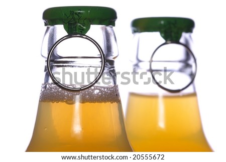 Pair bear or juice bottles lid with open ring