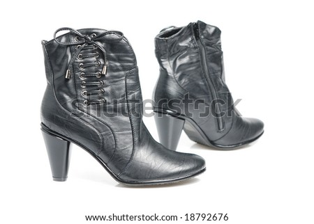 Pair black, woman shoes from collection autumn - winter. Isolated on white background.