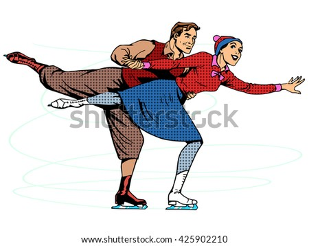 Pair figure skaters ice dance - stock photo