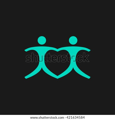 Pair Flat icon on black background. Simple symbol - stock photo