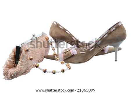 pair glamour brown shoes on isolated background