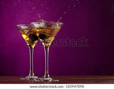 Pair glass of martini - stock photo