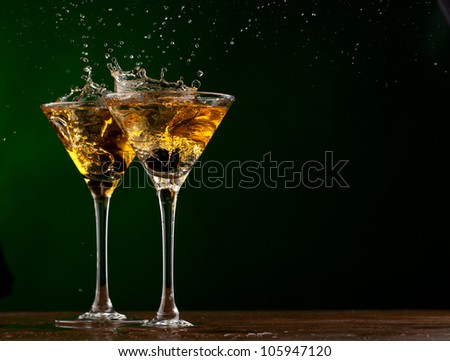 Pair glass of martini - stock photo