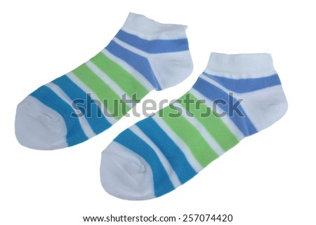 Pair Green And Blue Striped Ladies or Girlish Socks Isolated On White Background
