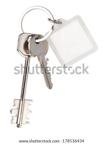 pair home keys and square keychain on ring isolated on white background