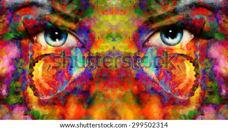 pair of beautiful blue women eyes beaming, color rust effect, painting collage, with butterfly - stock photo