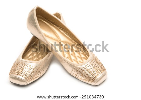 Pair of beige female shoes - stock photo