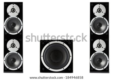 Pair of black high gloss music speakers and subwoofer isolated on white background