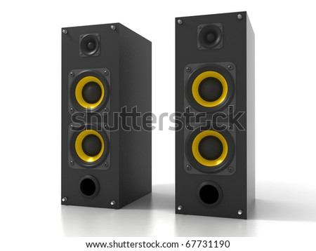 Pair of Black Loud Speakers Isolated on White - stock photo