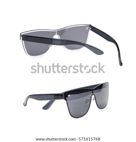 Pair of black shade sunglasses isolated over the white background, set of two different foreshortenings