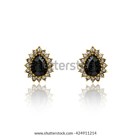 Pair of black spinel diamond earrings isolated on white - stock photo
