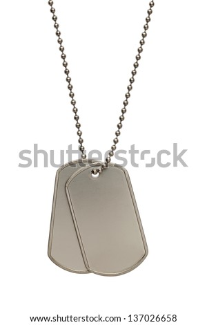 Pair of Blank Metal Tags Hanging on Chain. Isolated on a White Background. - stock photo