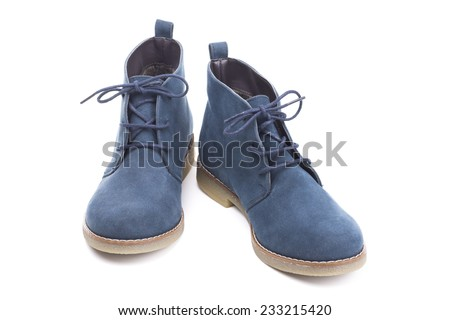 pair of blue boots on white background - stock photo