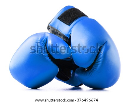 Pair of blue leather boxing gloves isolated on white background - stock photo