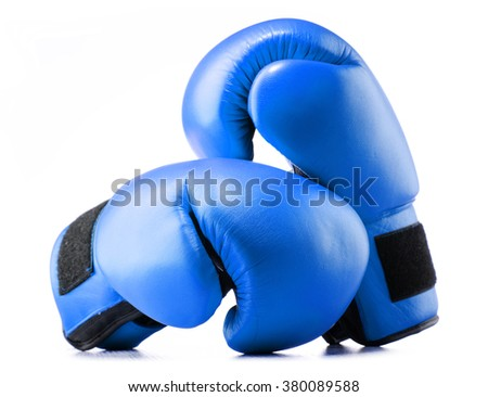 Pair of blue leather boxing gloves isolated on white background