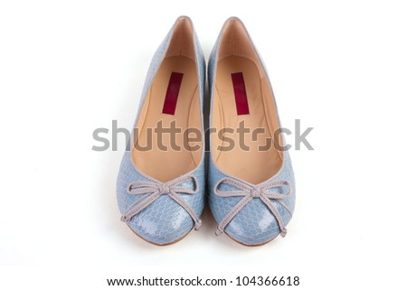 Pair of blue woman shoes isolated on white background - stock photo