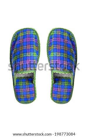 Pair of  blue wool squared slippers on white background - stock photo