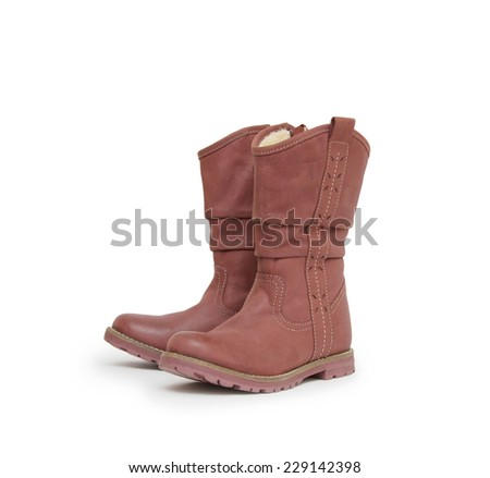 pair of boots isolated on a white background.