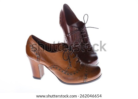 Pair of brown female boots isolated on white background. Classic shoes. Two different models - stock photo