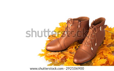 Pair of brown female boots on a background of golden autumn leaves - stock photo