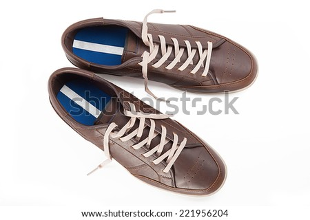 Pair of brown man's shoes top view - stock photo