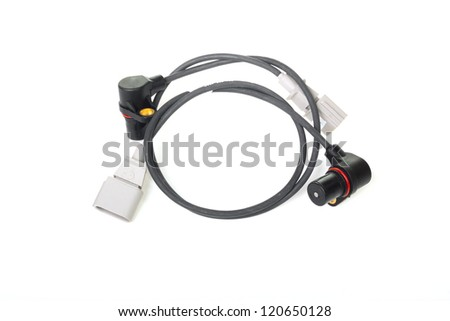 Pair of cables  with connectors isolated on white background - stock photo