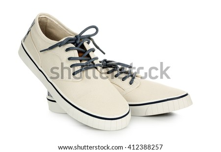 pair of canvas shoes isolated on white