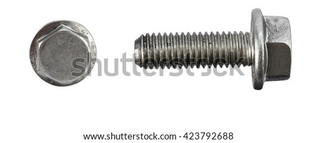 Pair of car wheel bolts isolated on white - stock photo