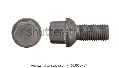 Pair of car wheel bolts isolated on white. the wheel nuts, cap, bolt on a white background. bolt and nut isolated on white background. Close-up of various steel nuts and bolts - stock photo