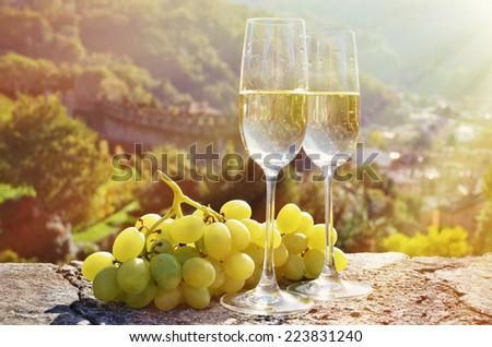 Pair of champagne glasses. Bellinzona, Switzerland - stock photo