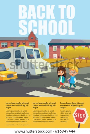 Illustration of car stopped at pedestrian crossing - Traffic Education Stock Images Royalty Free Images