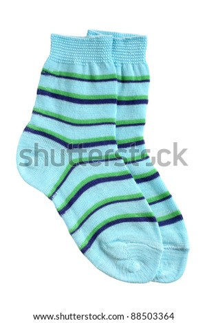 Pair of child's striped socks isolated on a white background