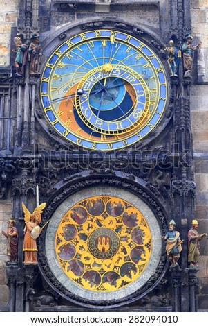 Pair of colorful dials with Gothic decorations of the Astronomical Clock, Prague, Czech Republic - stock photo