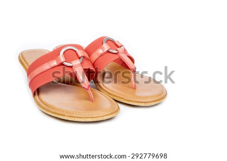 Pair of Colorful Flip Flops Isolated on White