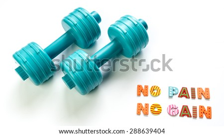 Pair of cyan color dumbbells with word No Pain No Gain. Isolated on white background. Copy space. - stock photo