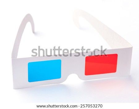 pair of 3D glasses Isolated on white  background. - stock photo