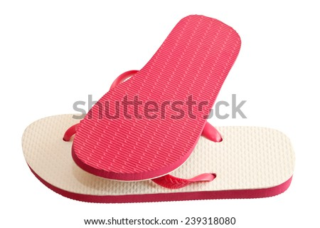 Pair of flip-flops isolated on a white background  - stock photo