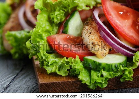 pair of fresh juicy wrap sandwiches with chicken and vegetables, close up - stock photo