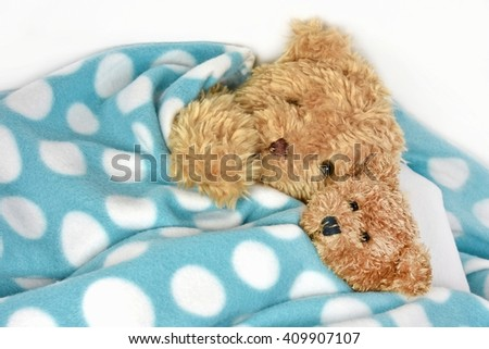 pair of fuzzy brown teddy bears snuggling under a polka dot blanket