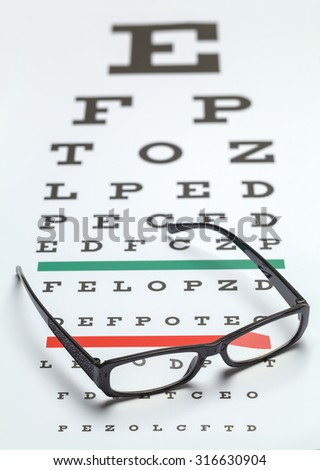Pair of Glasses on Eye Exam Chart. - stock photo