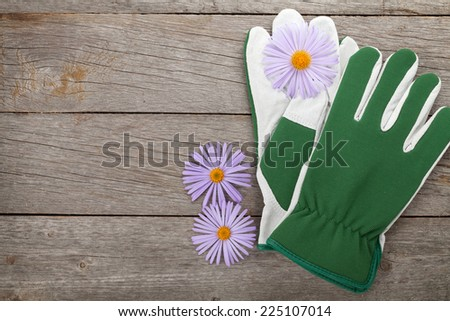 Pair of gloves and flowers. On wooden table with copy space - stock photo