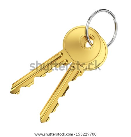 Pair of golden door keys isolated on white background - stock photo
