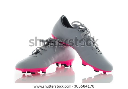 Pair of gray leather soccer shoes,Footbal boots. Soccer boot, isolated on white background - stock photo