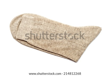 Pair of gray socks isolated on a white background - stock photo
