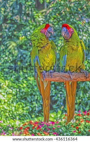 Pair of great green macaws on perch,digital oil painting