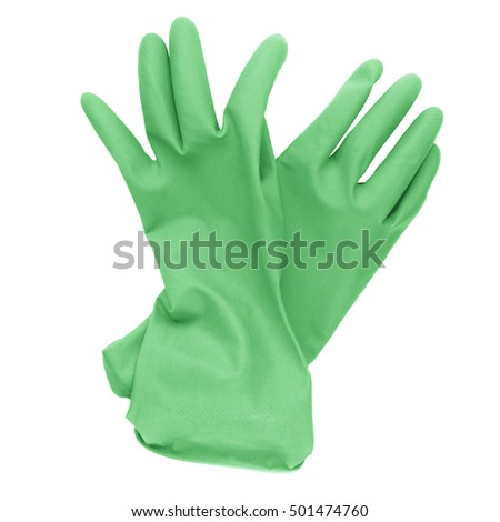 Green Rubber Gloves On White Background Stock Photo